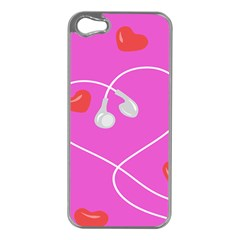 Heart Love Pink Red Apple iPhone 5 Case (Silver)