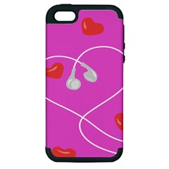 Heart Love Pink Red Apple iPhone 5 Hardshell Case (PC+Silicone)
