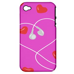 Heart Love Pink Red Apple iPhone 4/4S Hardshell Case (PC+Silicone)