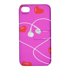 Heart Love Pink Red Apple iPhone 4/4S Hardshell Case with Stand