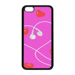 Heart Love Pink Red Apple iPhone 5C Seamless Case (Black)