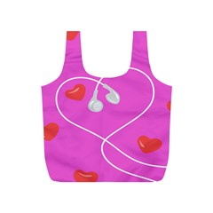 Heart Love Pink Red Full Print Recycle Bags (S)