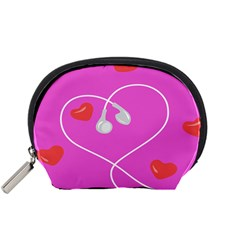Heart Love Pink Red Accessory Pouches (Small)