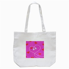 Heart Love Pink Red Tote Bag (White)