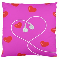 Heart Love Pink Red Large Flano Cushion Case (two Sides)