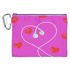 Heart Love Pink Red Canvas Cosmetic Bag (XXL)