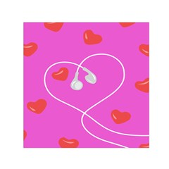 Heart Love Pink Red Small Satin Scarf (Square)