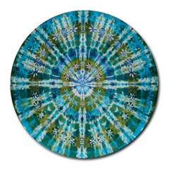 Green Flower Tie Dye Kaleidoscope Opaque Color Round Mousepads