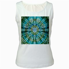Green Flower Tie Dye Kaleidoscope Opaque Color Women s White Tank Top