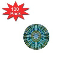 Green Flower Tie Dye Kaleidoscope Opaque Color 1  Mini Buttons (100 Pack)