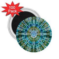 Green Flower Tie Dye Kaleidoscope Opaque Color 2.25  Magnets (100 pack)