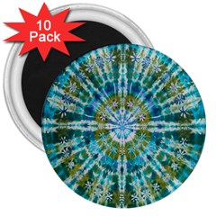 Green Flower Tie Dye Kaleidoscope Opaque Color 3  Magnets (10 pack)