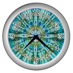 Green Flower Tie Dye Kaleidoscope Opaque Color Wall Clocks (Silver)