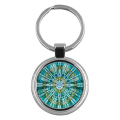Green Flower Tie Dye Kaleidoscope Opaque Color Key Chains (Round)