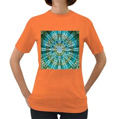 Green Flower Tie Dye Kaleidoscope Opaque Color Women s Dark T-Shirt