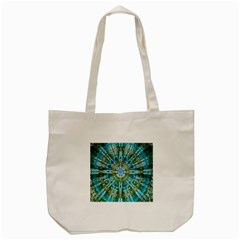 Green Flower Tie Dye Kaleidoscope Opaque Color Tote Bag (Cream)