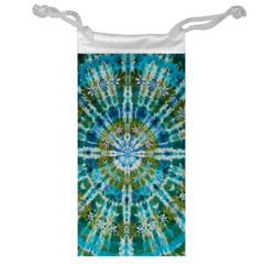 Green Flower Tie Dye Kaleidoscope Opaque Color Jewelry Bag