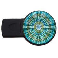 Green Flower Tie Dye Kaleidoscope Opaque Color USB Flash Drive Round (4 GB)