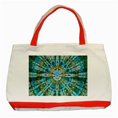 Green Flower Tie Dye Kaleidoscope Opaque Color Classic Tote Bag (red)