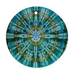 Green Flower Tie Dye Kaleidoscope Opaque Color Round Ornament (Two Sides)