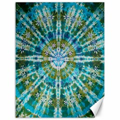 Green Flower Tie Dye Kaleidoscope Opaque Color Canvas 12  X 16