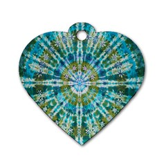 Green Flower Tie Dye Kaleidoscope Opaque Color Dog Tag Heart (one Side)