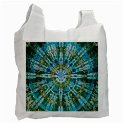 Green Flower Tie Dye Kaleidoscope Opaque Color Recycle Bag (Two Side)