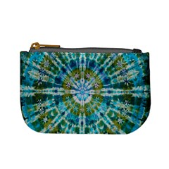 Green Flower Tie Dye Kaleidoscope Opaque Color Mini Coin Purses