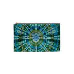 Green Flower Tie Dye Kaleidoscope Opaque Color Cosmetic Bag (Small)