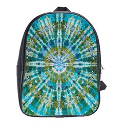 Green Flower Tie Dye Kaleidoscope Opaque Color School Bags(Large)