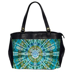 Green Flower Tie Dye Kaleidoscope Opaque Color Office Handbags (2 Sides)