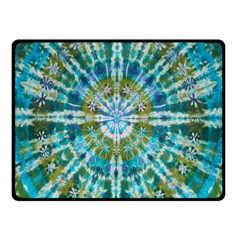 Green Flower Tie Dye Kaleidoscope Opaque Color Fleece Blanket (Small)