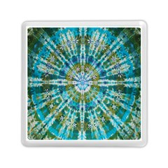 Green Flower Tie Dye Kaleidoscope Opaque Color Memory Card Reader (Square)