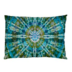 Green Flower Tie Dye Kaleidoscope Opaque Color Pillow Case (Two Sides)