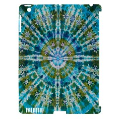 Green Flower Tie Dye Kaleidoscope Opaque Color Apple iPad 3/4 Hardshell Case (Compatible with Smart Cover)