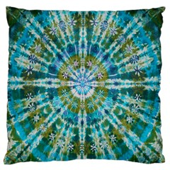 Green Flower Tie Dye Kaleidoscope Opaque Color Large Cushion Case (One Side)