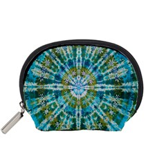 Green Flower Tie Dye Kaleidoscope Opaque Color Accessory Pouches (Small)