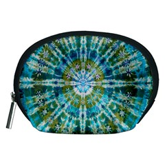 Green Flower Tie Dye Kaleidoscope Opaque Color Accessory Pouches (Medium)