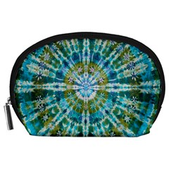 Green Flower Tie Dye Kaleidoscope Opaque Color Accessory Pouches (Large)