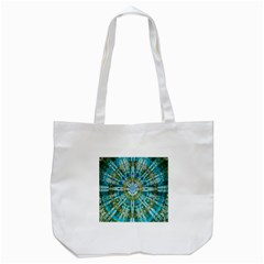 Green Flower Tie Dye Kaleidoscope Opaque Color Tote Bag (White)