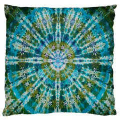 Green Flower Tie Dye Kaleidoscope Opaque Color Large Flano Cushion Case (Two Sides)