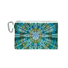Green Flower Tie Dye Kaleidoscope Opaque Color Canvas Cosmetic Bag (S)