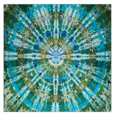 Green Flower Tie Dye Kaleidoscope Opaque Color Large Satin Scarf (Square)