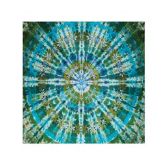Green Flower Tie Dye Kaleidoscope Opaque Color Small Satin Scarf (Square)