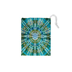 Green Flower Tie Dye Kaleidoscope Opaque Color Drawstring Pouches (XS)