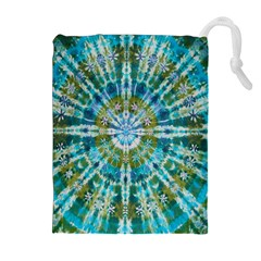 Green Flower Tie Dye Kaleidoscope Opaque Color Drawstring Pouches (Extra Large)