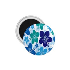 Hibiscus Flowers Green Blue White Hawaiian 1.75  Magnets