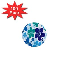 Hibiscus Flowers Green Blue White Hawaiian 1  Mini Buttons (100 pack)