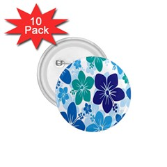 Hibiscus Flowers Green Blue White Hawaiian 1.75  Buttons (10 pack)