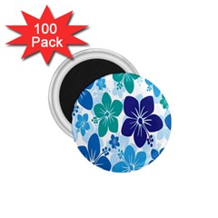 Hibiscus Flowers Green Blue White Hawaiian 1.75  Magnets (100 pack)